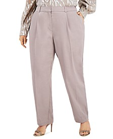 Plus Size Pleated Slim-Fit Pants, Created for Macy's