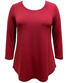 Plus Size 3/4-Sleeve Solid Curved-Hem Top, Created for Macy's