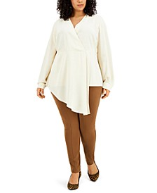 Plus Size Solid Asymmetrical Surplice Top, Created for Macy's