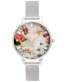 Women's Sparkle Floral Stainless Steel Mesh Bracelet Watch 34mm