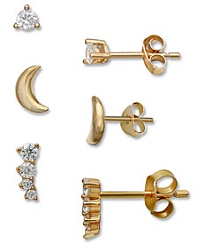 3-Pc. Set Cubic Zirconia Stud & Crawler Earrings in 18k Gold-Plated Sterling Silver, Created for Macy's