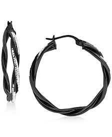 """Medium Twist Hoop Earrings in Black Rhodium-Plated Sterling Silver, 1.2"""", Created for Macy's"""