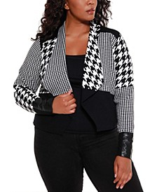 Black Label Women's Plus Size Multi Houndstooth Cropped Sweater Blazer