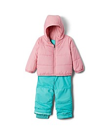 Toddler Girls Double Flake Jacket and Bib Set