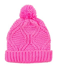 Women's Chenille Fold-Over Beanie with Pom-Pom