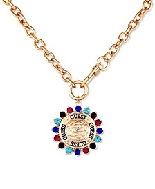 """Gold-Tone Multicolor Crystal Charm 18"""" Pendant Necklace"""