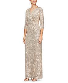 Alex Evenings Sequinned Surplice Gown