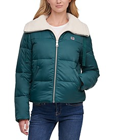 Faux-Sherpa-Lined Bomber Puffer Jacket