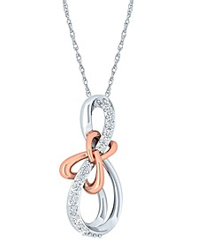 "Diamond Two-Tone Bow 18"" Pendant Necklace (1/10 ct. t.w.) in Sterling Silver & 10k Rose Gold"