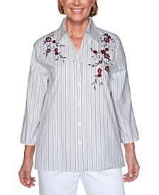 Petite Madison Avenue Embroidered Stripe Top