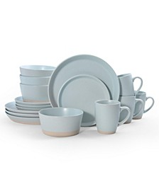 hudson blue 16 pc dinnerware set, service for 4