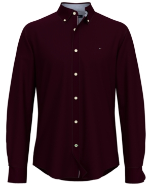 Tommy Hilfiger Men's New England Custom-Fit Solid Oxford Shirt