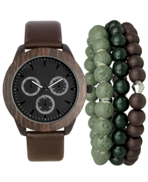 INC INTERNATIONAL CONCEPTS INC MEN'S BROWN FAUX-LEATHER STRAP WATCH 48MM & BRACELETS SET, CREATED FOR MACY'S