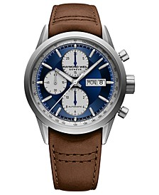 Men's Swiss Automatic Chronograph Freelancer Brown Calf Leather Strap Watch 42mm