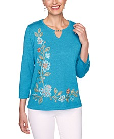 Petite Colorado Springs Floral Asymmetric Embroidered Sweater