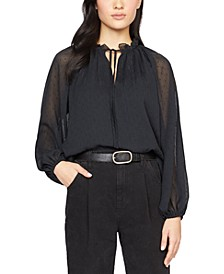 Live It Up Illusion-Sleeve Blouse