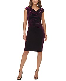 Velvet Cowlneck Side-Ruched Bodycon Dress