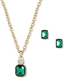 Gold-Tone Crystal & Stone Pendant Necklace & Stud Earrings Set, Created for Macy's