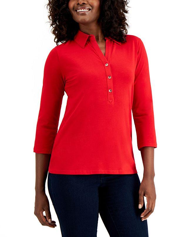 Charter Club Petite Supima® Cotton 3/4-Sleeve Polo, Created for Macy's