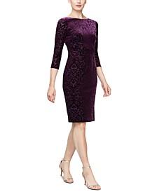 Glitter Velvet-Burnout Sheath Dress