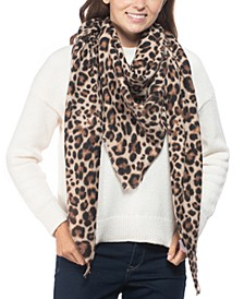 INC Leopard-Print Soft Triangle Scarf, Created for Macy's