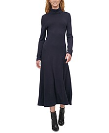 Solid Turtleneck Knit Dress