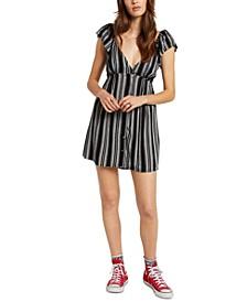 Juniors Striped Button Dress