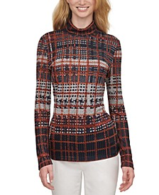 Plaid Long-Sleeve Turtleneck Textured Top