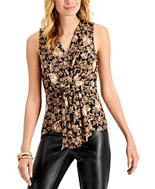 INC Printed Draped-Twist V-Neck Top, Created for Macy's
