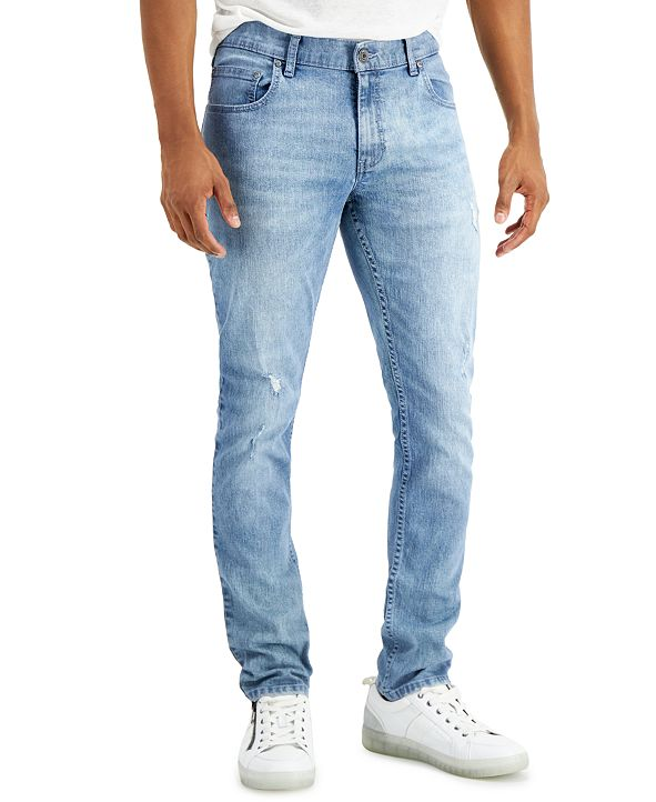 INC International Concepts INC Men's Light wash Skinny Ripped Jeans, Created for Macy's