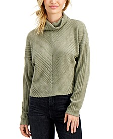 Juniors' Ribbed Hacci-Knit Turtleneck