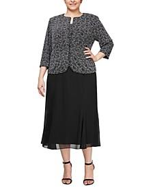Plus Size Metallic-Knit Jacket & Dress Set