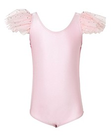 Little and Big Girls Yvette Ruffle Shoulder Leotard