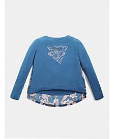 Big Girls Long Sleeve Rhinestone Graphic T-shirt
