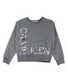 Big Girls Fleece Logo Sweatshirt with Screenprint