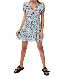 Women's Woven Essential Button Front Mini Dress
