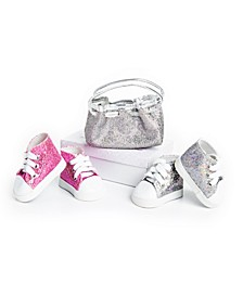 "18"" Doll Clothes Accessories, Authentically Pink and Silver Glitter Sneakers and a Silver Glitter Handbag Purse, Compatible with American Girl Dolls"
