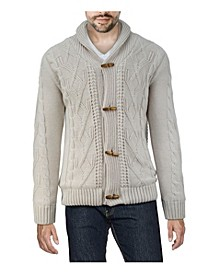 Men's Shawl Collar Cable Knit Cardigan with Fleece Lining