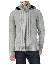Men's Hooded Full-Zip High Neck Sweater Jacket