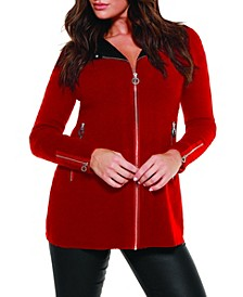 Black Label Women's Plus Size Moto Sweater Jacket