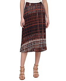 Printed Pull-On Pleated Midi Skirt