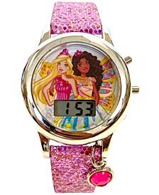 Kid's Barbie Digital Pink Glitter Silicone Strap Watch 34mm