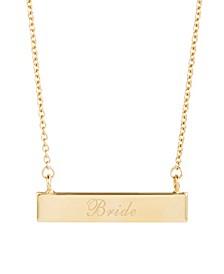 14K Gold Plated Bride Bar Necklace