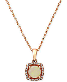 Gemma by EFFY Opal (3/4 ct. t.w.) and Diamond Accent Pendant in 14k Rose Gold