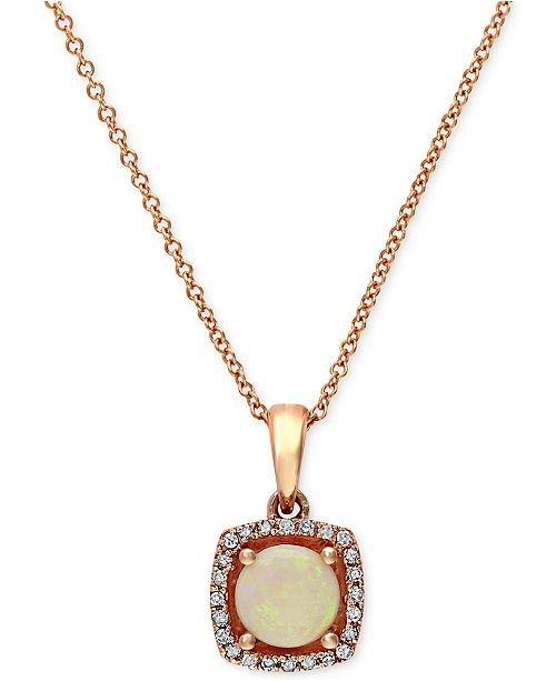EFFY Collection Gemma by EFFY Opal (3/4 ct. t.w.) and Diamond Accent Pendant in 14k Rose Gold