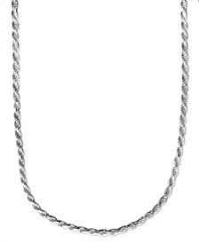 "Men's Sterling Silver Necklace, 22"" 4-1/2mm Rope Chain"