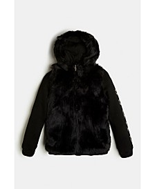 Big Girls Faux Fur Zip Hoodie