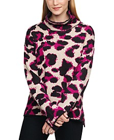 Animal-Print Turtleneck Sweater