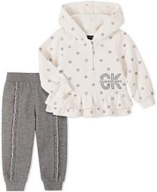 Baby Girls 2-Pc. Ruffled Polka Dot Fleece Hoodie & Sweatpants Set