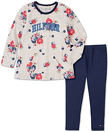 Baby Girls 2-Pc. Floral Logo-Print Tunic & Leggings Set
